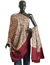 DollsofIndia Light Woolen Shawl with Paisley Design - 40 x 84 inches (OQ23)