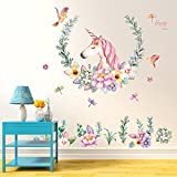Flybuild® Unicorn Flower Wall Sticker Removable Kids Girls Room Wall Decals Mural Art Nursery Home Decoration