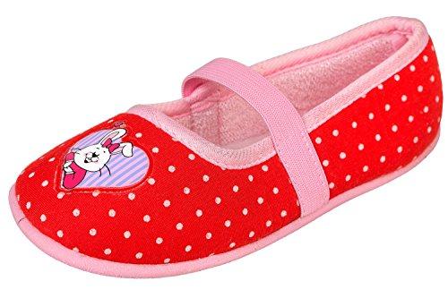 GIBRA® Hausschuhe für Kinder, Art. 9716, mit Gummizug, rot, Gr. 24