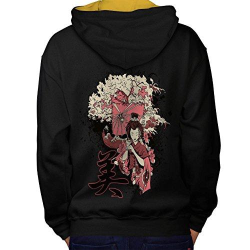 Geisha Sakura Kunst Fantasie Kostüm Perücke Men M Kontrast Kapuzenpullover Zurück | (Der Liebe Griechische Göttin Kostüme)