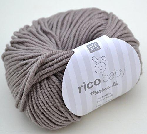 Rico Baby Merino dk 006 - kiesel Babywolle aus 100% Merinowolle extrafine zum Stricken und Häkeln, Merinowolle Babywolle Rico Merino