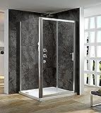 120x90cm Duschkabine Glastrennwand dusche mit Kabine Schiebetür Glas Duschkabinentür Glaskabine mit Seintenwand Höhe 190cm klar