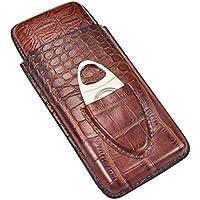 Volenx Zigarren Etui Tube mit Crocodile Getreide Leder für Reise (Braun für 3 Zigarren)