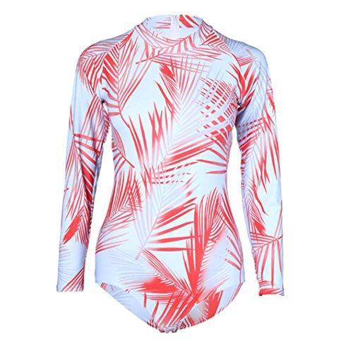 Fuibo Frauen BH Badeanzug Set Sonnenschutz Surfing Anzug Push-Up Gepolstert Wasserdicht Print Rot
