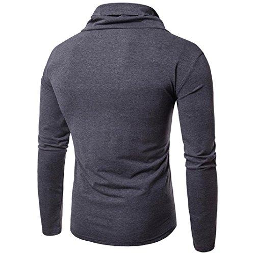Kaiki Mens Turtleneck Casual Langarm Shirt Slim Fit Pullover Outwear Gray