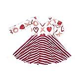 IZHH Kinder Kleider, Kleinkind Langarm Kleider Baby Mädchen Valentinstag Streifen Herz Print Princess Dress Tops 12M-4Y Kinder Gestreiften Love Heart Print Dress(Rot,120)