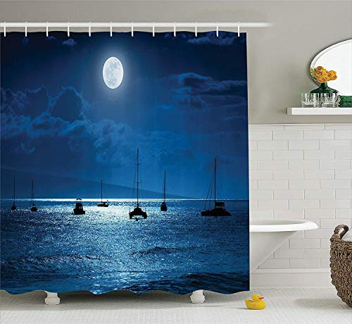 Duschvorhang,Ocean Decor Shower Curtain Set Dramatic Photo of A Nighttime Sky Full Moon Over A Calm Ocean Scene in Maui Hawaii Bathroom Accessories Navy White 60X72 Inch