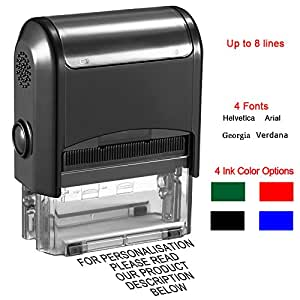 Custom Stamp Self Inking Personalised Stamp 75 X 38 Mm 8 Lines Of Text Rubber Stamps For Teachers Kids Nurses Doctors Business Card Making With 4