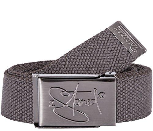 2Stoned Hosengürtel Schmal Grau, matte Schnalle geprägt, 3 cm breit, Textil-Gürtel für Damen und Herren -