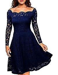 Meyison Damen Vintage 1950er Off Schulter Spitzenkleid Knielang Festlich Cocktailkleid Abendkleid Rockabilly Kleid Gr.34-48