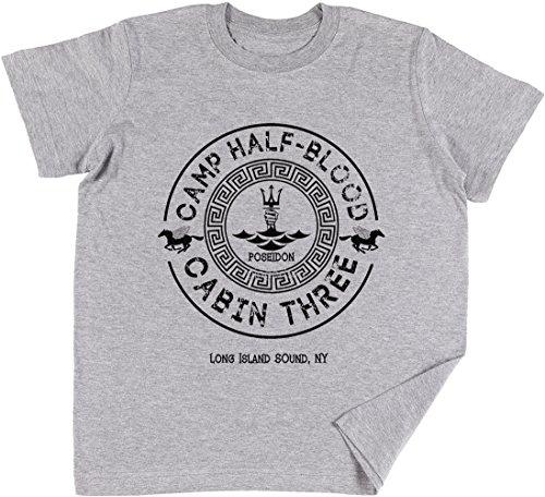 Percy Jackson - Camp Half-Blood - Cabin Three - Poseidon Kinder Jungen Mädchen Unisex T-Shirt Grau