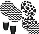 KPW 44 Teile Party Deko Set Schwarz Weiß Muster Mix für 8 Personen