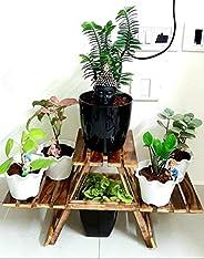 Generic SZ Crafts Vintage Wooden Multipurpose Folding Rack/Plant Stand with 3 Decks