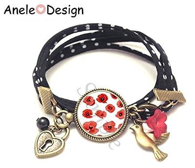 Bracelet femme rouge noir - Coquelicot