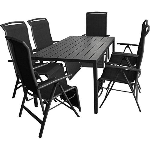 7tlg. Gartengarnitur Aluminium Gartentisch 150x90cm mit Polywood Tischplatte Klappsessel mit 2x1 Textilenbespannung Rücken- und Fußteil um 5 Positionen verstellbar