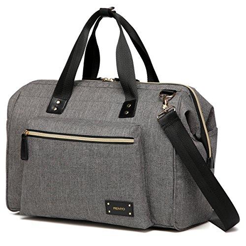 PREMYO Wickeltasche mit Wickelunterlage und Kinderwagenbefestigung in Grau. Elegante Wickeltasche mit Thermofach für unterwegs. Moderne Wickeltasche mit Reißverschluss und vielen Fächern