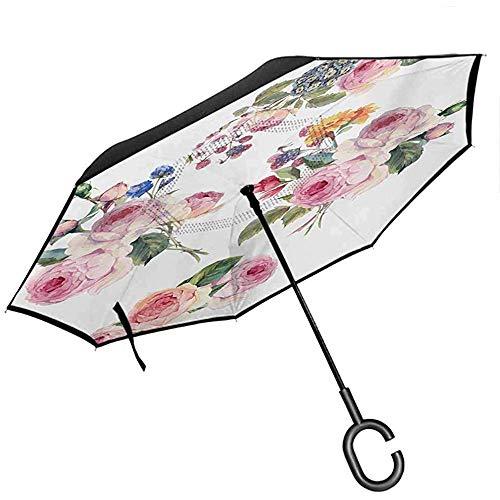 Ombrello romantico da viaggio cuori gotici stile tatuaggio san valentino amore gra-ffiti illustrazione grunge ombrello pale grey black