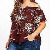 Blusas Para Mujer Rawdah Camiseta Estampada Floral Mujer Talla Grande Blusa De Manga Corta Blusa Casual Tops Hombro Desnudo Blusas De Mujer Sexy Blusa De Fiesta Mujer (XXXXXL)