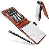 Quick notes, taccuino A7 con custodia in similpelle, penna e calcolatrice solare, il taccuino è rimovibile, fogli a righe larghe Rufous
