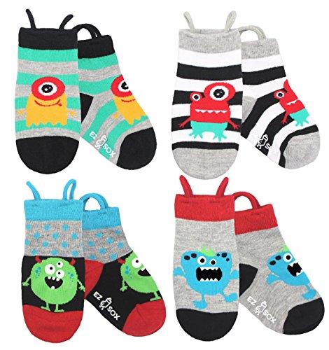 Kinder Tier Socken mit nahtlosen Zehen (5-9 Jahre, Monsters) (Zehen-tier)
