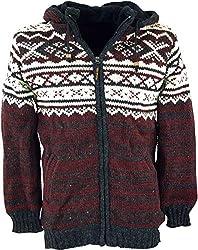 Guru-Shop Strickjacke mit Norwegermuster, Wolljacke, Nepaljacke, Herren, Rot, Wolle, Size:XL, Jacken, Strickjacken, Ponchos Alternative Bekleidung