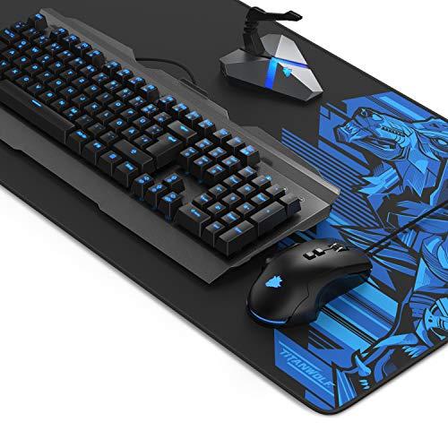 Titanwolf Gaming Set mit mechanischer Tastatur + Gaming Maus mit Auswechselbaren Tasten und Gewichten + Mauskabelhalter mit Hubfunktion + XXL Mauspad