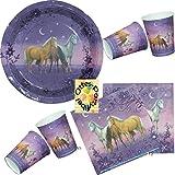 Traumpferdchen Pferde Horses Partyset Teller Becher Servietten für 12 Kinder 44 Teile