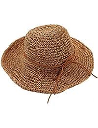 Tinksky Amplia los casquillos del visera plegable sombrero de paja playa sol verano, regalos para las madres o regalo para las mujeres adultas jóvenes (luz de color caqui)