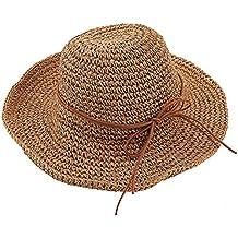 Tinksky Las Mujeres Sol Gorras Sombreros de Paja de Sol de Playa Plegable  de Verano ( 6df73e2478b