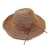 Tinksky Sommer-Strand-Strohhut-breite Rand-Kappen-Sonne faltbar für Frauen (helles kakifarbiges)
