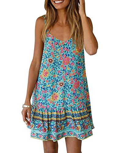 ABRAVO Damen Kleid Bohemian Floral Sommer ärmellosen Casual Kurzen Rock V-Ausschnitt tief Mini Beach Dress,Grün,S=EU 32-34 - Beach Bikini Cover