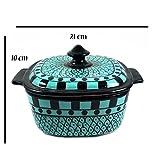 India Meets India Handgefertigtes Servierschüssel aus Keramik mit Deckel, Home Küche Geschirr & Aufbewahrung | für Reis, Keramik, Dessert | verziert mit khurja Keramik gefertigt mit Geschenk