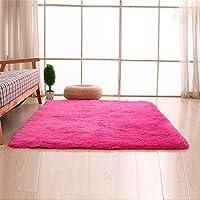 Alfombras, CAMAL Lavable Material de Lana de Seda Artificial Alfombra Decorativo Sala de Estar y Dormitorio (140cmX200cm, Rosa Roja)
