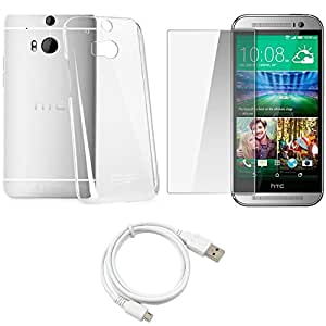 NIROSHA Tempered Glass Screen Guard Cover Case USB Cable for HTC Desire M8 - Combo