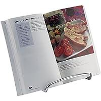 mDesign - Soporte para libro de cocina, caballete para exhibir fotos, pedestal para exhibir platos decorativos - Cromado
