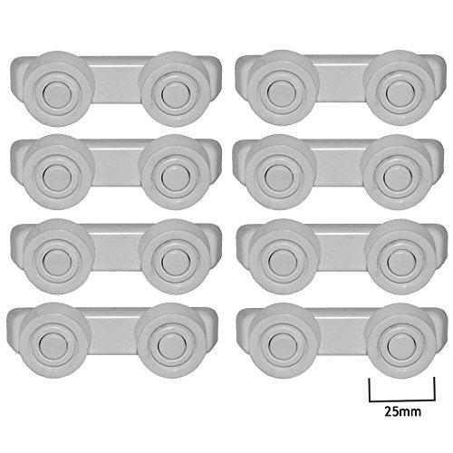 spares2go Korb Schublade Läufer Schienen Rollen und Klammern für Kenwood kdw1274W Geschirrspüler (25mm, 8Sets) - Acht Schublade Roller