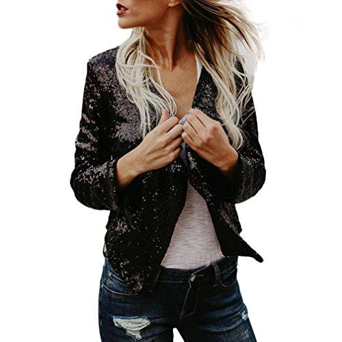 Koly donne cardigan a maniche lunghe con paillettes a maniche lunghe cappotto con rivestimento in top cardigan maglione irregolari semplice cardigan drappeggiato maniche giacca top (sexy black, s)