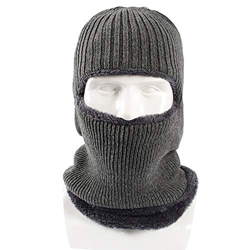 qianqian QIAN Winter Men Hat Plus Velvet Keep Warm Hat Knitted Cycling Windbreaker Hearing Protection Face One Sleeve Wool Cap, Gray