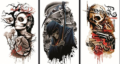 Neueste neues Design und heiße verkaufende realistische Tattoo-Aufkleber 3pcs Halloween realistische Tattoo-Aufkleber in einem Paket, es einschließlich schreckliche Teufel, Schädel, Vögel, Waffen etc.