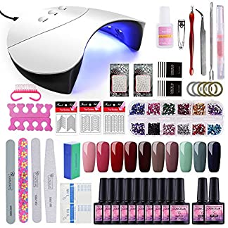 Saint-Acior Kit Uñas en Gel 10PCS Esmalte Semipermanente 8ml 36W UV/LED Lámpara Secador de Uñas Capa Base Capa Superior para Manicura