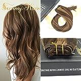 Sunny Cabello Natural Humano Marron (#4) con Rubia (#27) Brasileno Remy Hair 24 Pulgadas Human Hair Extensions 100g