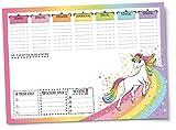 EINHORN Schreibtischunterlage für Kinder, Mädchen, Teenager & Erwachsene von UKULELE® / DIN A3 quer / Block mit 25 Blatt zum Abreißen / Papier: weiß / Wochenplaner blanko