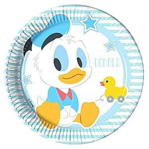 Procos 85588-Platos Papel Baby Mickey & Donald, 8piezas, azul/blanco