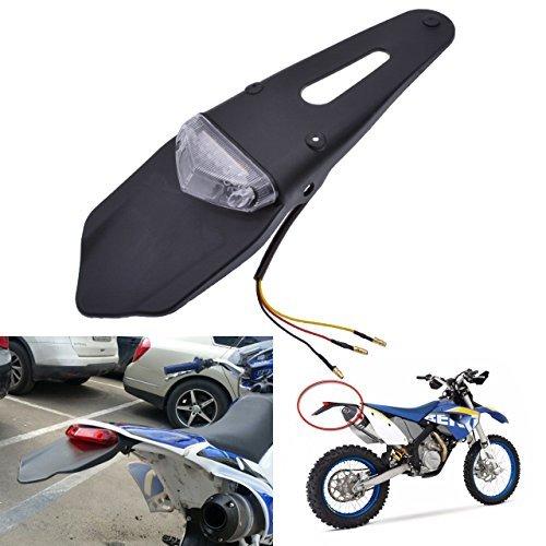 TUINCYN Motorrad LED Rücklicht Bremslicht hinten Kotflügel mit Halterung Schwarz Offroad Fahrrad Schwanz Nummernschild Licht Bremslicht mit weißer Linse (1 Stück)