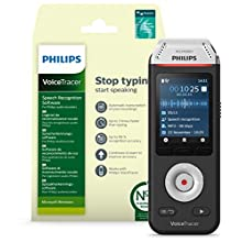 Philips Voicetracer Audio Recorder with Nuance Dragon Speech Recognition Software - Recorder Edition (Windows) DVT2810, 8GB, Colour Display, Stereo MP3/PCM