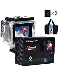 Campark® ACT74 Caméra Etanche Wifi 4k Ultra HD 2 Pouce LCD Ecran 170 Degrés Temporisateur,Caméscope, Embarquée, Enregistrement DVR Capteur SONY Noir