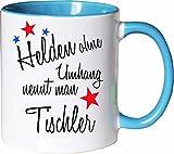 Mister Merchandise Becher Tasse Helden Ohne Umhang Nennt Man Tischler Kaffee Kaffeetasse liebevoll Bedruckt Beruf Job Geschenk Weiß-Hellblau