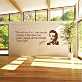 HLLCY Johnny Cash Quote PVC wandkunst Aufkleber Zimmer Aufkleber Wand DIY wandaufkleber für Wohnzimmer Schlafzimmer Mural adesivo de Parede 118x42 cm