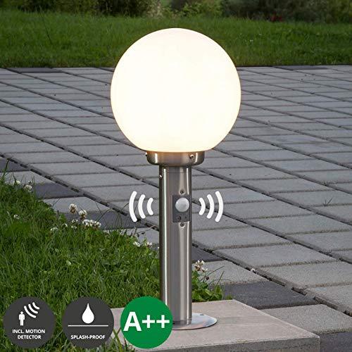 Lampenwelt Außenleuchte 'Vedran' mit Bewegungsmelder (spritzwassergeschützt) (Modern) in Alu aus Glas (1 flammig, E27, A++) - Wegeleuchte, Pollerleuchte, Wegelampe, Sockelleuchte