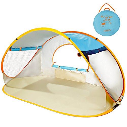ZOMAKE Pop Up Strandmuschel, Extra Leicht Strandzelt mit Boden UV 80 Sonnenschutz - Familie Tragbares Strand-Zelt - XXL Beach Tent for Baby (Blauer See)